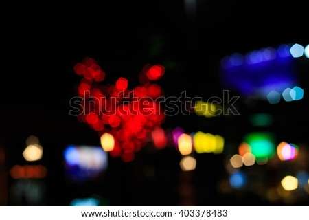 Blurred picture of night city bokeh