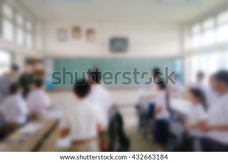 Blurred primary school classroom in Thailand. Blurred students, teachers and team. - stock photo