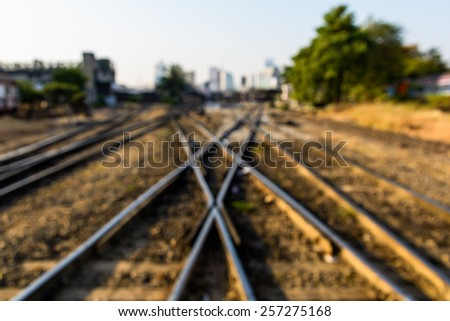 Blurred railroad tracks in Thailand as a background - stock photo