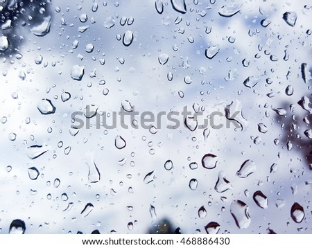 Blurred rain drop on the car glass background