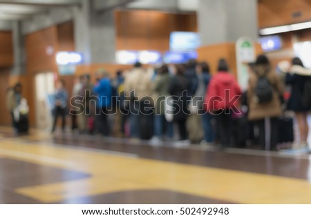 Blurred regularity background, People lined up waiting for the train. More scenic spots in japan, tateyama