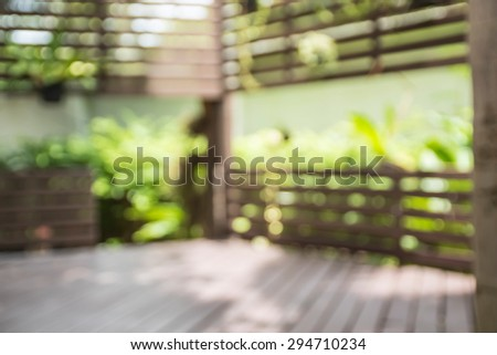 Blurred Relaxing outside terrace with strong wooden - stock photo