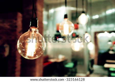 Blurred restaurant background -vintage filter - stock photo