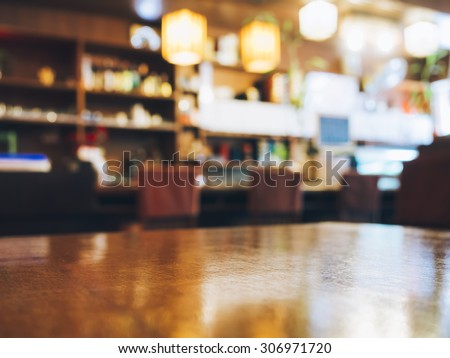 Blurred Restaurant table counter Bar shop background - stock photo