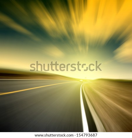 Blurred road and sky light