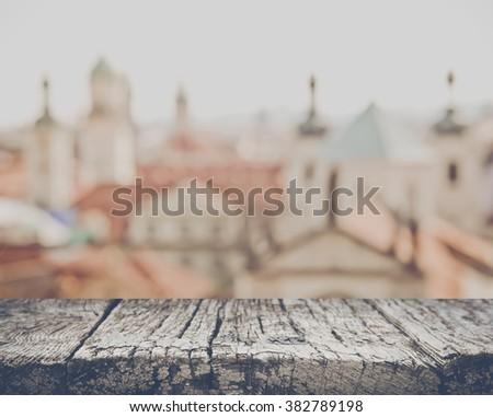 Blurred Rooftops in Prague, Czech Republic - stock photo