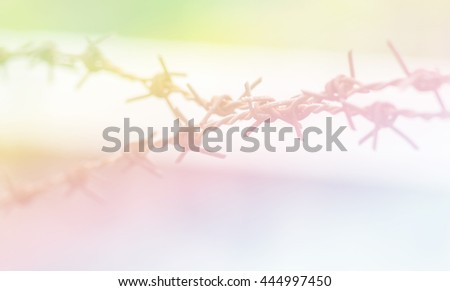 Blurred Rusty barbed wire on blurred background.Blurry barbed wire made with color filter. - stock photo