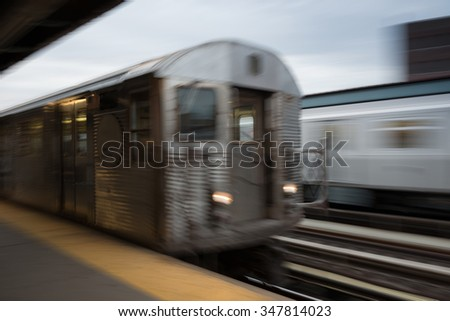 Blurred scene of fast moving train in new York