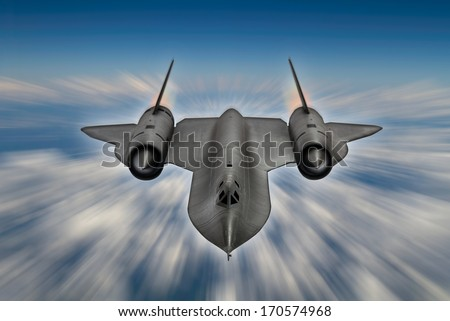 Blurred sky background - SR-71 'Blackbird' 20th century advanced, long-range, Mach 3+ strategic reconnaissance aircraft from the USA. (Artists Impression/recreation photo) - stock photo