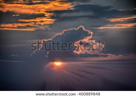 Blurred sky in evening time of beautiful sunset nature background