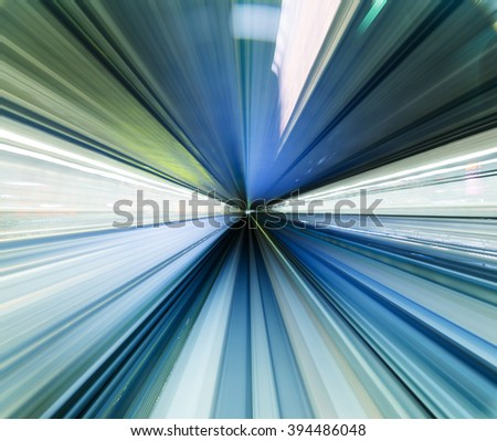 Blurred speed motion view in tunnel - stock photo