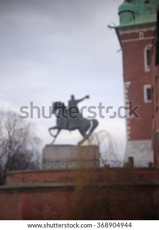 Blurred statue at Krakow Wawel Castle