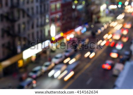 Blurred street lights in Manhattan, New York City - stock photo