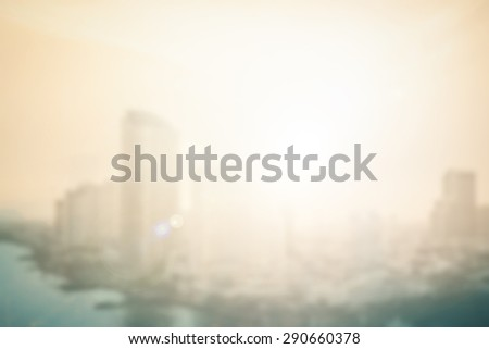 Blurred sunset over Bangkok city, Thailand background with circle light. blur backgrounds concept. - stock photo