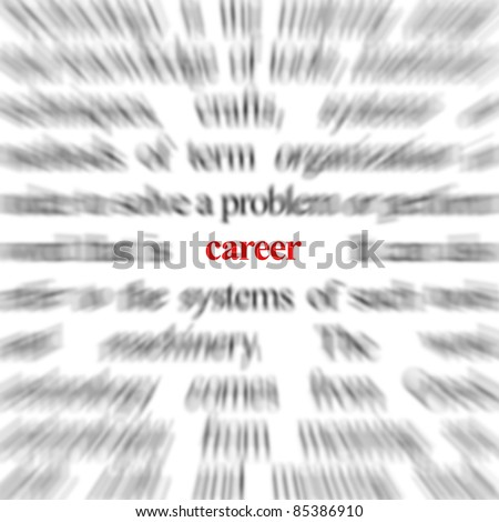 Blurred text with a focus on career