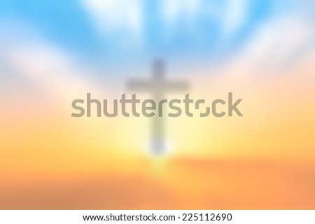 Blurred the cross on a sunset background. Merry Christmas Card, Thankful, Repentance, Reconcile, Adoration, Glorify, Peace, Evangelical, Hallelujah, Amen, Praise, Worship concept - stock photo