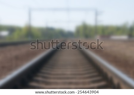Blurred the way forward railway - stock photo