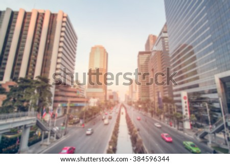 Blurred traffic in Bangkok city - stock photo