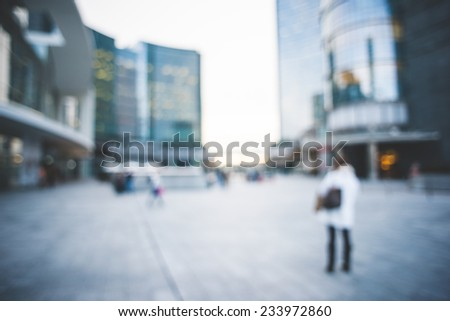 blurred urban milan landscape colored background - stock photo