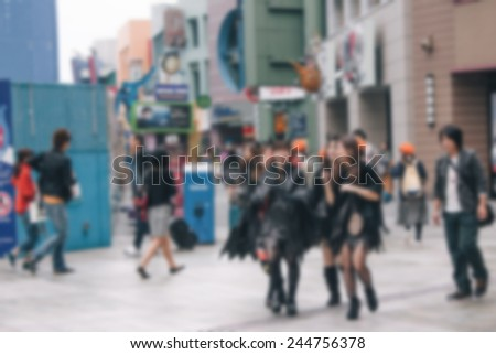 Blurred view abstract people city background