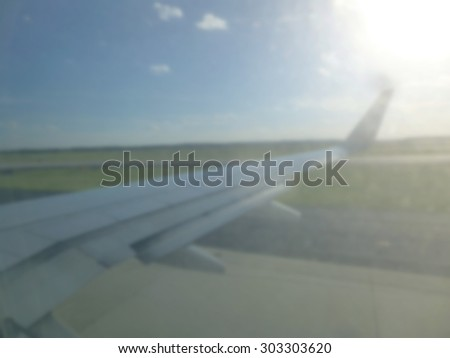 blurred view of airplane for background  - stock photo