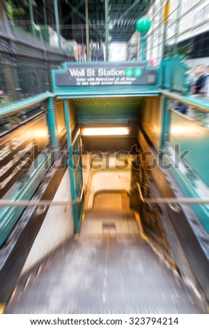 Blurred view of New York subway entrance. - stock photo