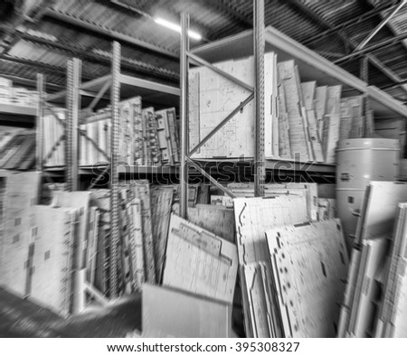 Blurred view of Paper Mill Warehouse. Movement and work concept.