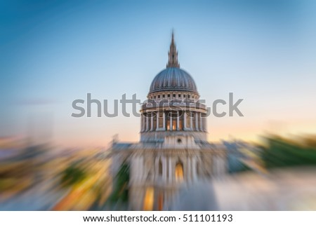 Blurred view of St Paul cathedral, London.