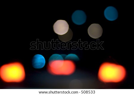 blurred vision driving at night - stock photo