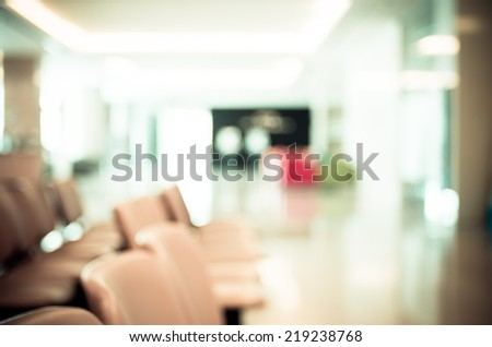 Blurred waiting chairs zone in hospital,use as background - stock photo