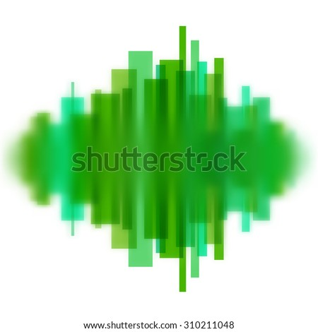 Blurred waveform made of transparent green lines