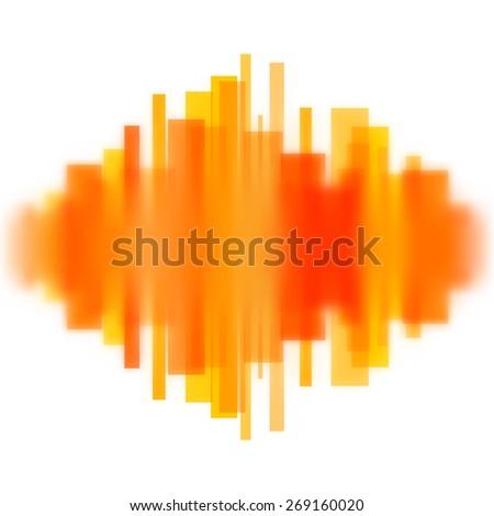 Blurred waveform made of transparent orange lines. - stock photo