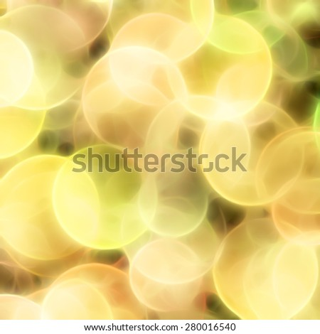 Blurred yellow circles background. Imitation the visual quality of the out-of-focus. - stock photo