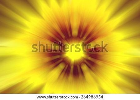 Blurred yellow red flower center rays meditation abstract background - stock photo