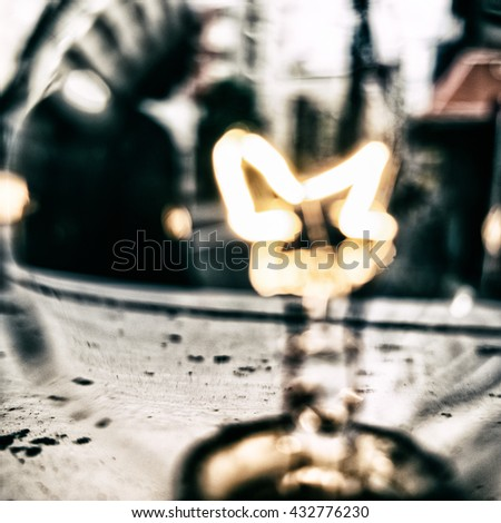 Blurry abstract background. Light bulb close up with street view. Tokyo - stock photo