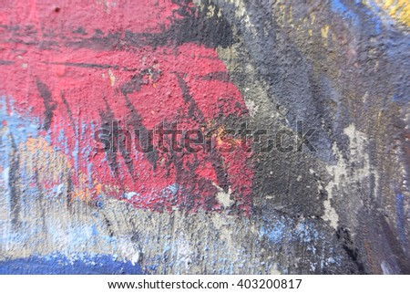 Blurry abstract pattern colored paint on concrete wall in thai temple:Close up,select focus with shallow depth of field:ideal use for background.