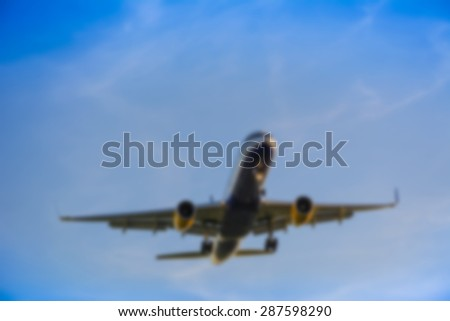 Blurry Airplane background - stock photo