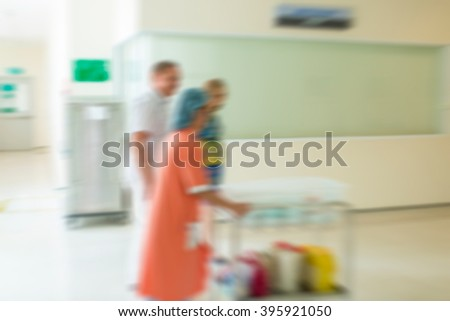 Blurry background newborn baby in hospital, delivery to room - stock photo
