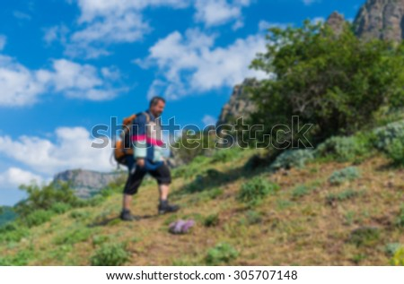 Blurry background - Valley of Ghosts as beautiful place for hiking in Crimean mountain