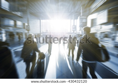 Blurry business people walking down the street talking. Silhouettes. - stock photo