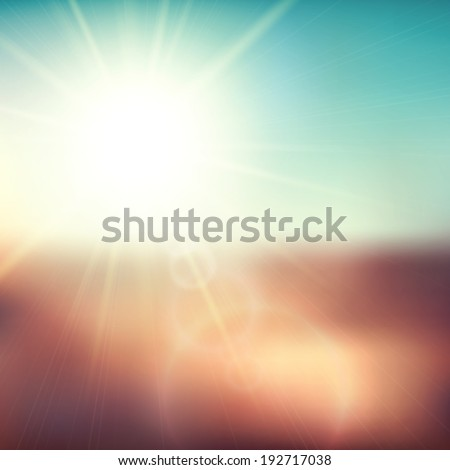 Blurry evening scene with brown field, sun burst, blue and green blur sky,  illustration - stock photo