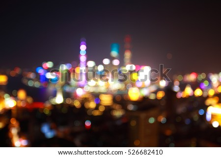Blurry focus backgrounds at Shanghai bund Skyline of night scene