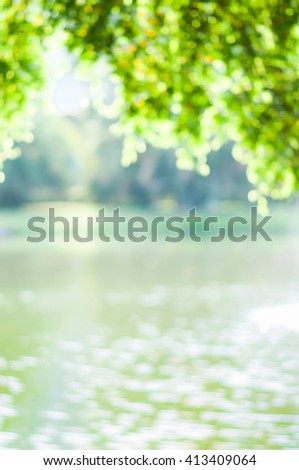 blurry for misty down at the lake  - stock photo