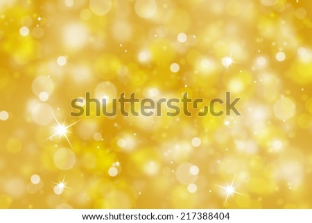 Blurry golden color abstract bokeh background with sparkle (illustration). - stock photo