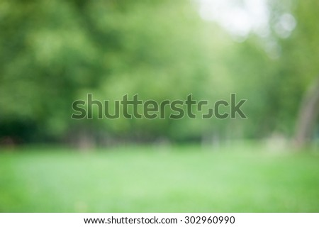 Blurry green park bokeh background - stock photo