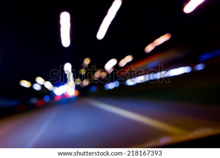 Blurry Highway Bokeh View from Driver Seat at Night