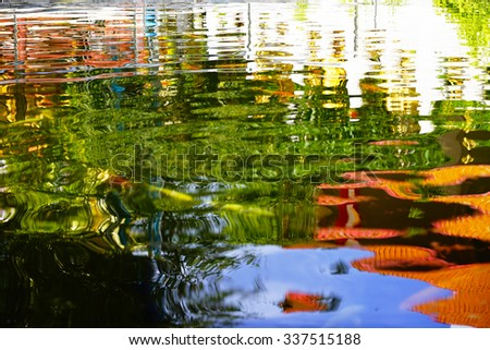Blurry image of water abstract  pattern with fishes reflex blue sky and building.