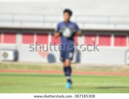 blurry,motion blur,Goalkeeper in action playing football (soccer) - stock photo