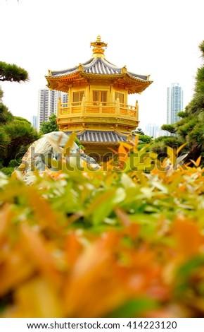 Blurry picture of Nan Lian Garden, Hong Kong - stock photo