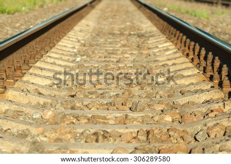 Blurry railroad background. Defocused landscape